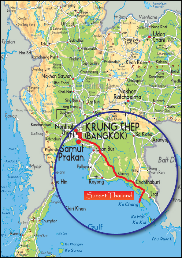 Koh Chang Thailand Map.Map Sunset Thailand